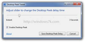 Desktop Peek Tweak en Windows 7